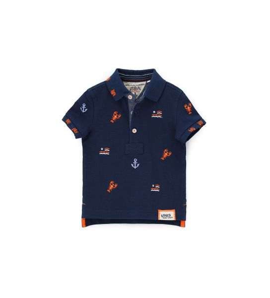 PIQUET POLO SHORT SLEEVE AND DENIM EFFECT IN FRONT