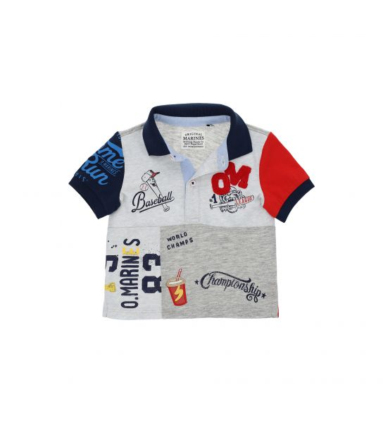POLO SHIRT WITH FINISHES AND PRINT