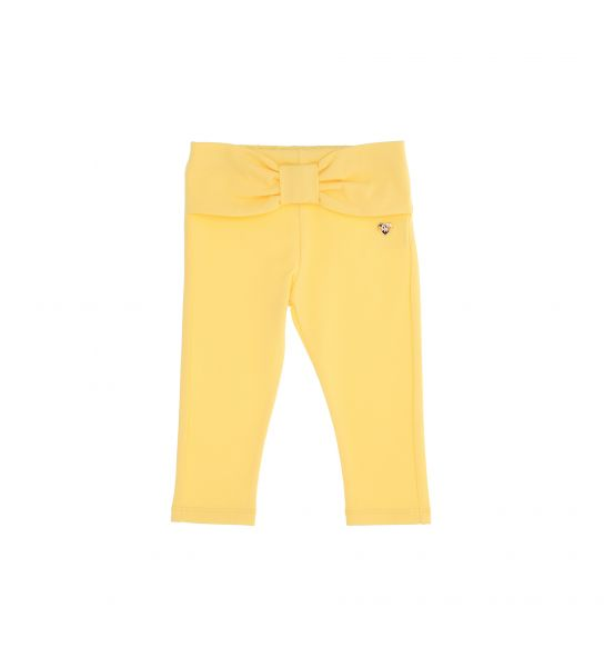 STRETCH COTTON LEGGINGS WITH BOW MOTIF AT THE WAIST