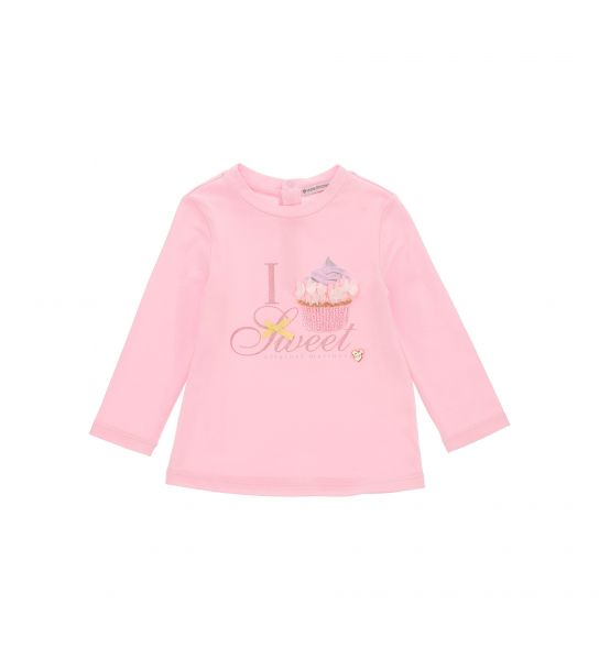 LONG SLEEVE COTTON T-SHIRT WITH STRASS PRINT