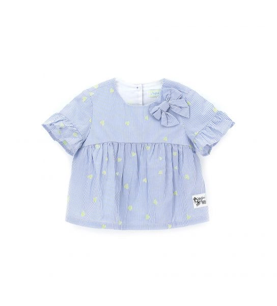 SHORT SLEEVE COTTON BLOUSE WITH RUFFLES