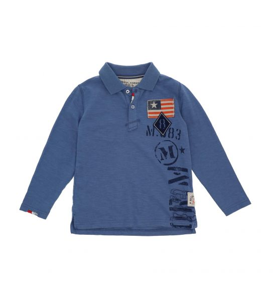 LONG SLEEVE PIQUET POLO WITH EMBROIDERY