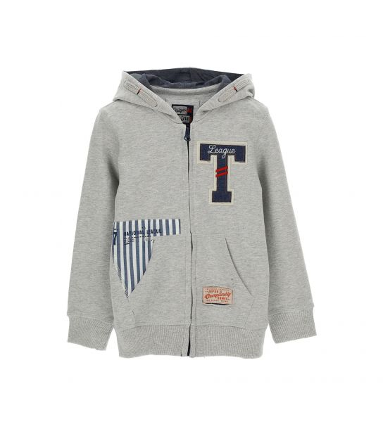 COTTON SWEATSHIRT WITH DENIM EFFECT PRINTED PATCHES