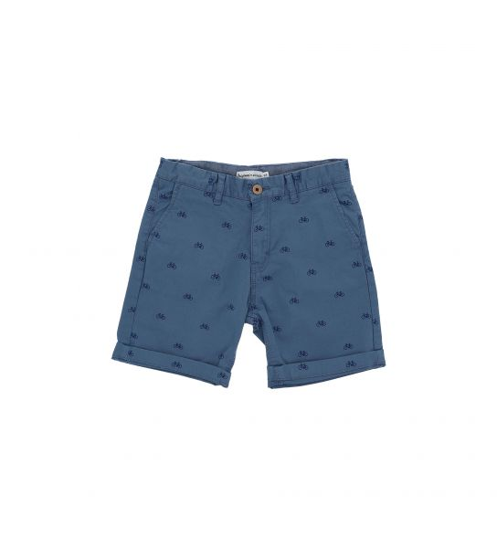 ALL OVER PRINT COTTON BERMUDA SHORTS WITH FRONT ZIP
