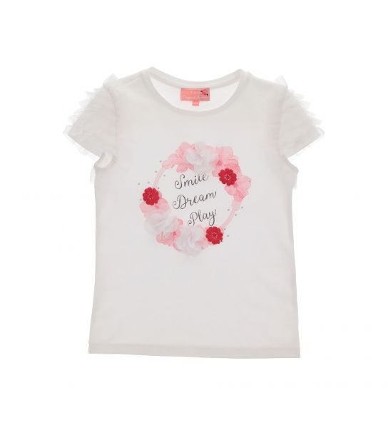 T-SHIRT CON BALZE IN TULLE