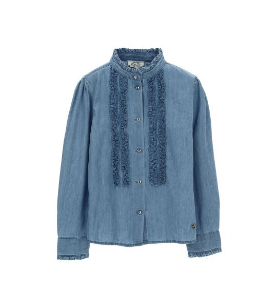JEANS SHIRT WITH KOREAN COLLAR